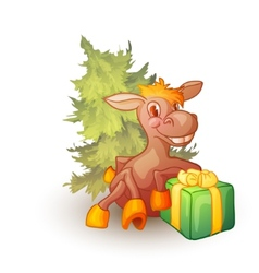 horse with present and fir-tree vector image vector image