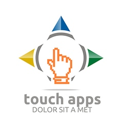 Icon touch screen app hand circle symbol vector