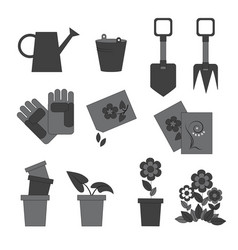 icons working in the garden vector image vector image