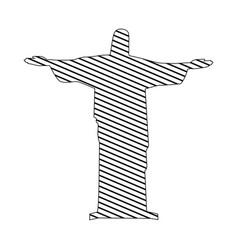 Monochrome silhouette of christ redeemer to vector