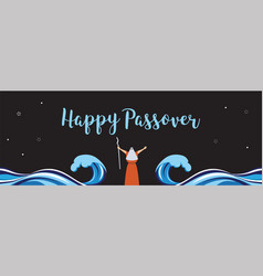 Moses separate sea for passover holiday over nigt vector