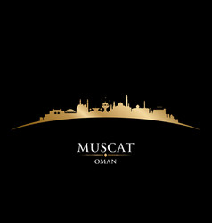 muscat oman city skyline silhouette black vector image
