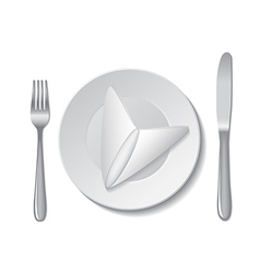 napkin plate cutlery vector image