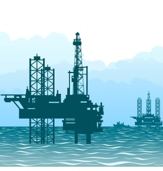 Oil rigs at sea-1 vector image