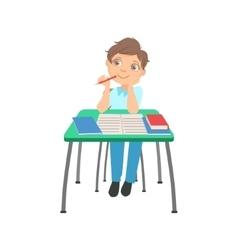 Schoolboy sitting behind the desk in school vector