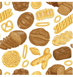 Seamless pattern with various bakery vector