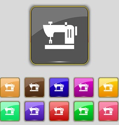 Sewing machine icon sign Set with eleven colored vector image