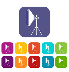 Studio lighting equipment icons set vector