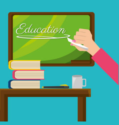 Teacher with class board and study tools vector