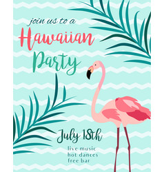 tropical floral poster with flamingo vector image