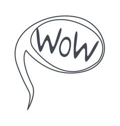 Word wow hand drawn comic speech bubble template vector