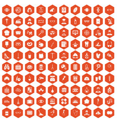100 profession icons hexagon orange vector