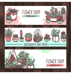 Succulents and cacti color sketch banners design vector