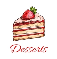 Strawberry cake sketch for pastry shop design vector image