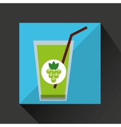 Fresh juice green grapes and cup glass straw vector