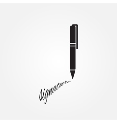 The signature pen undersign underwrite ratify vector