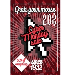 Color vintage cyber monday poster vector image