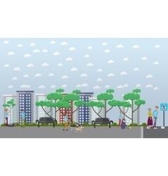 Volunteers help in the street concept vector image