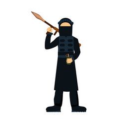 Military terrorist soldier character weapon vector