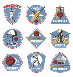 Colored vintage cricket logos set vector