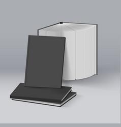 Stack of blank black books mockup template vector