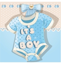 Baby shower blue card with baby shoes vector image