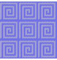Design seamless blue labyrinth knitted pattern vector