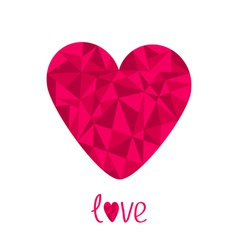 Pink heart polygonal effect love card isolated vector