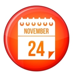 24 november calendar icon flat style vector