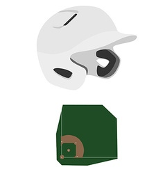 Baseball helmet and field vector