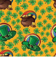 Seamless background with green leprechaun hats and vector