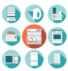 Set flat design icons of kitchen appliances with vector