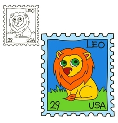 Postage stamp coloring book page vector