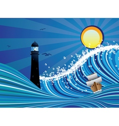 Lighthouse and boat in the sea5 vector