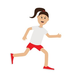 Funny cartoon running girl cute run woman jogging vector