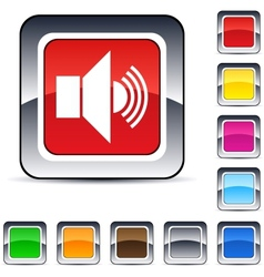 Sound square button vector