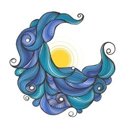Ink doodle water waves with sun vector