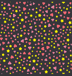 A lot of hearts and crystal star vector