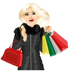 blonde woman in a black winter coat vector image