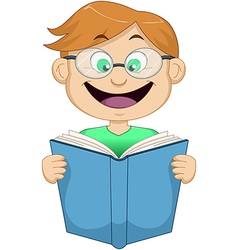Boy With Glasses Reading From Book vector image