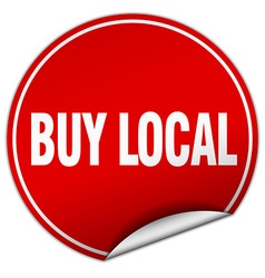 Buy local round red sticker isolated on white vector