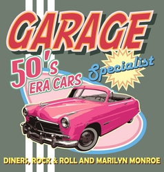 classic car garage 50 era vector image vector image