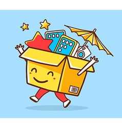Colorful of yellow joy character shopping bo vector