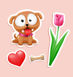 cute puppy in love tulip heart bone vector image