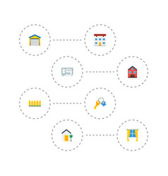 Flat icons depot property casement and other vector