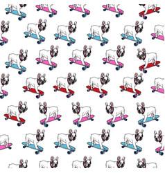 french bulldog on skateboard seamless pattern vector image vector image