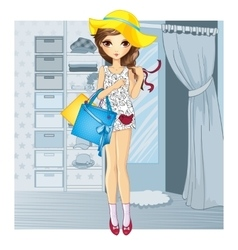Girl In Hat Near Fitting Room vector image vector image
