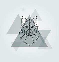 grey wolf head background vector image vector image