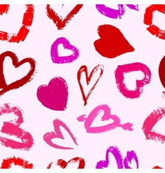Grunge valentines seamless pattern with hearts vector image