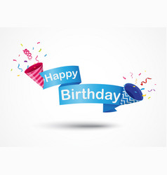 Happy birthday banner with party popper vector